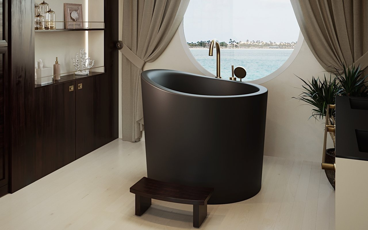 Aquatica True Ofuro Mini Black Freestanding Stone Bathtub 01 (web)
