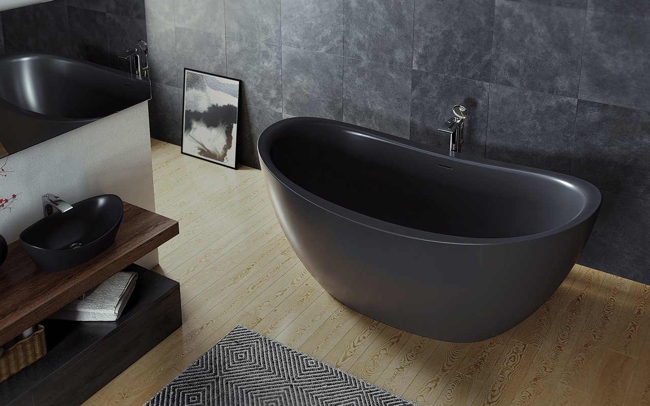 Purescape 171 Black Freestanding Slipper Bathtub web (1)