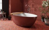 Spoon 2 RAL3009 Freestanding Egg Shaped Solid Surface Bathtub 4 (web)