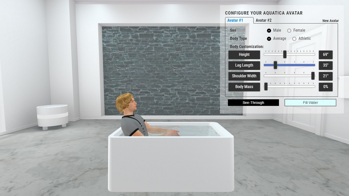 Purescape 327b freestanding acrylic bathtub 3D Body Position