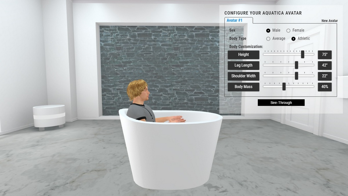 True Ofuro Bathtub 3D Body Position
